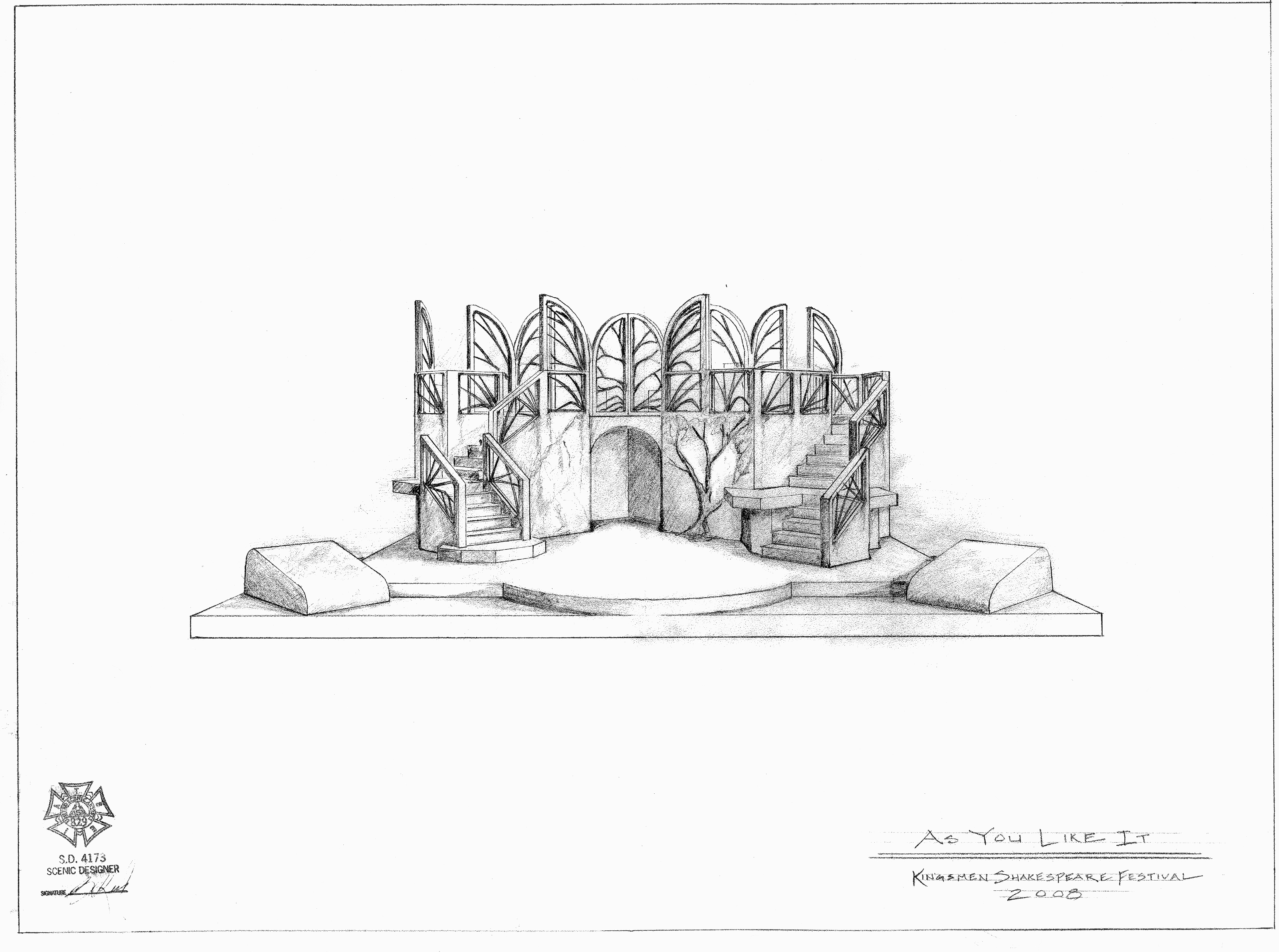 SCENIC DESIGN: As You Like It Kingsmen Shakespeare Festival 2008